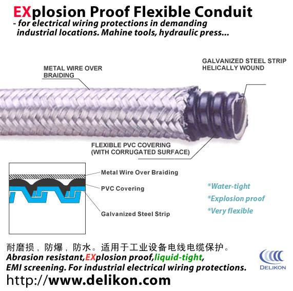 Braided electric flexible steel conduits