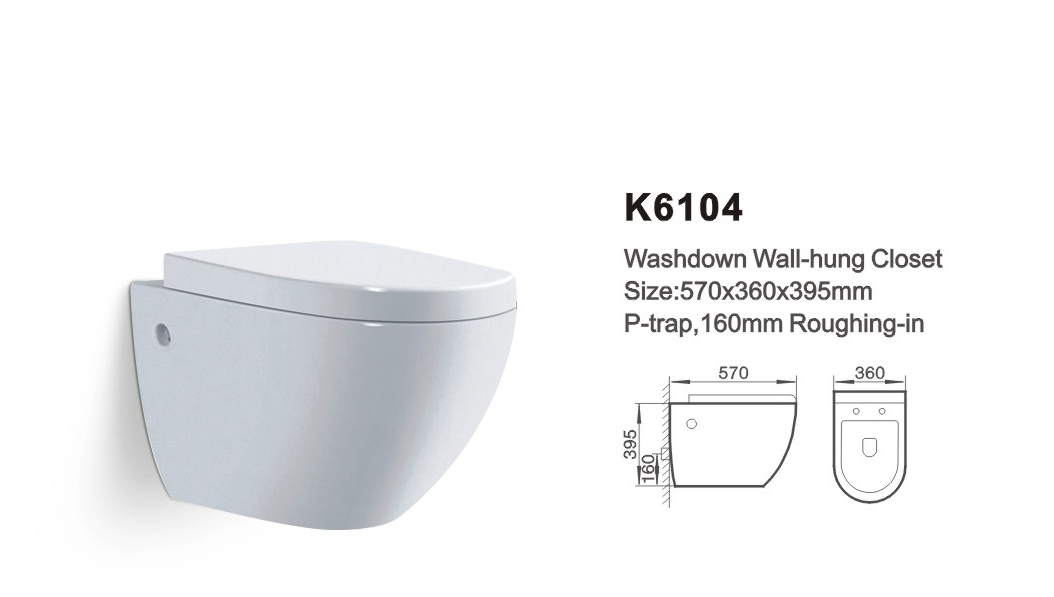 Item NO.K6104 washdown wall-hung toilet