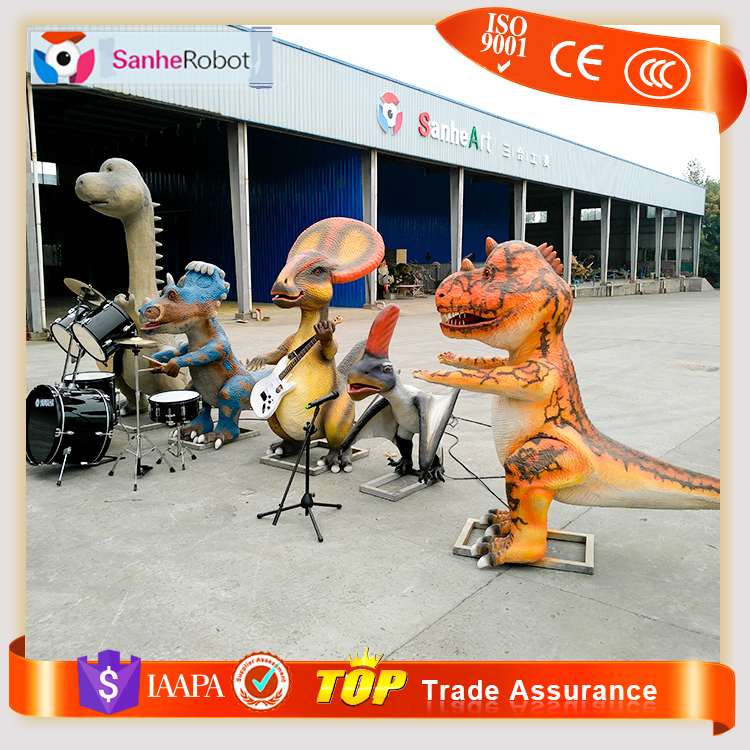 Fun new play ground equipment robot animal cartoon music animatron dinosaur band