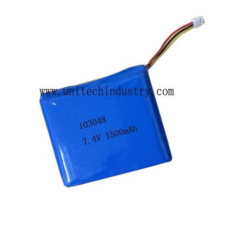 Custom reachargeable 103048 7.4V 1500mah 2S1P lipo battery pack