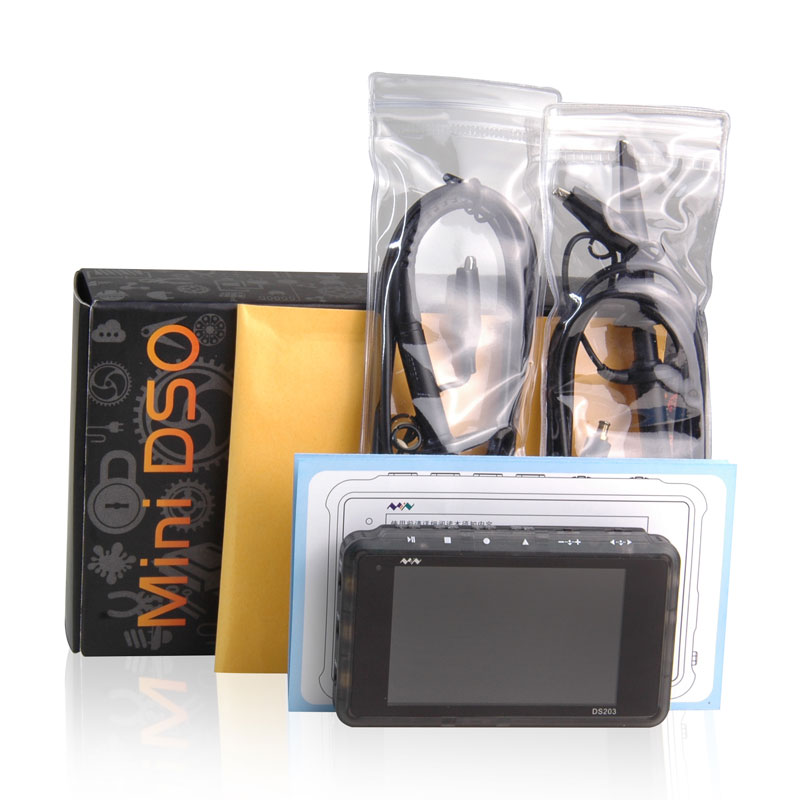 Pocket-sized Handheld Digital Storage Oscilloscope DS203 with transparent plastic Cortex M3 CPU 8M H