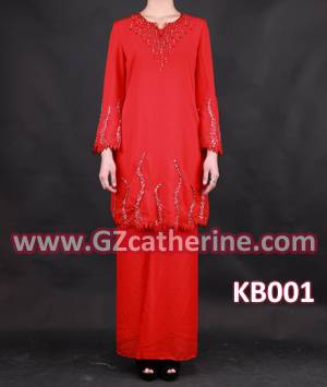 Latest Fashion Long Sleeves Red Beaded Baju Kurung Kaftan