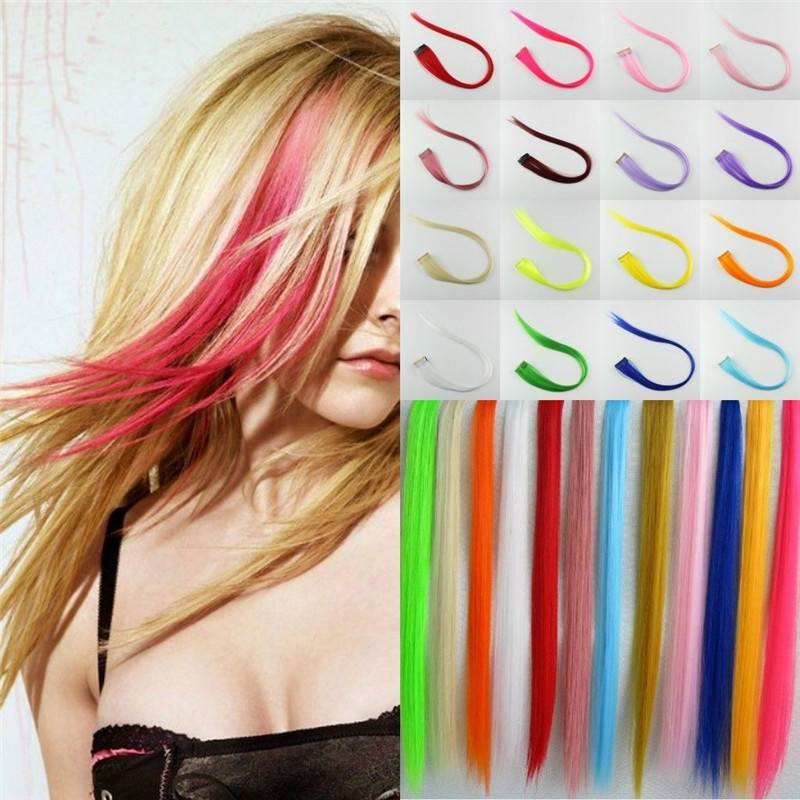 straight Synthetic Colorful Single clip hair extension