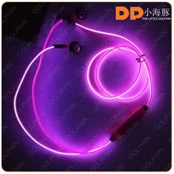 Unique Newest Design LED Shiny Glowing EL Earphone with Mic