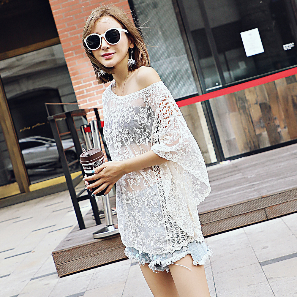 Lace Trousers Fall New Loose Lace Beach Blouse Fall Lace Embroidery Wide Sleeve Blouse