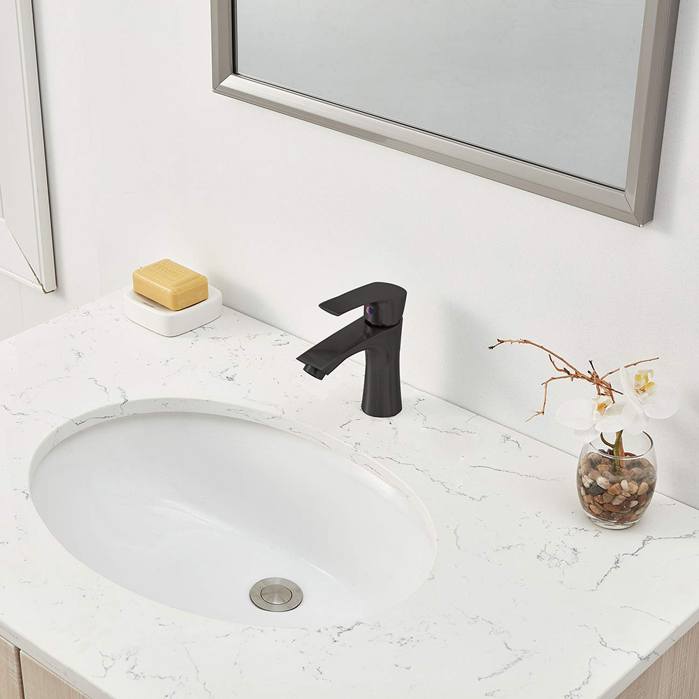 Single handle brass water tap bathroom pull matte black basin faucet