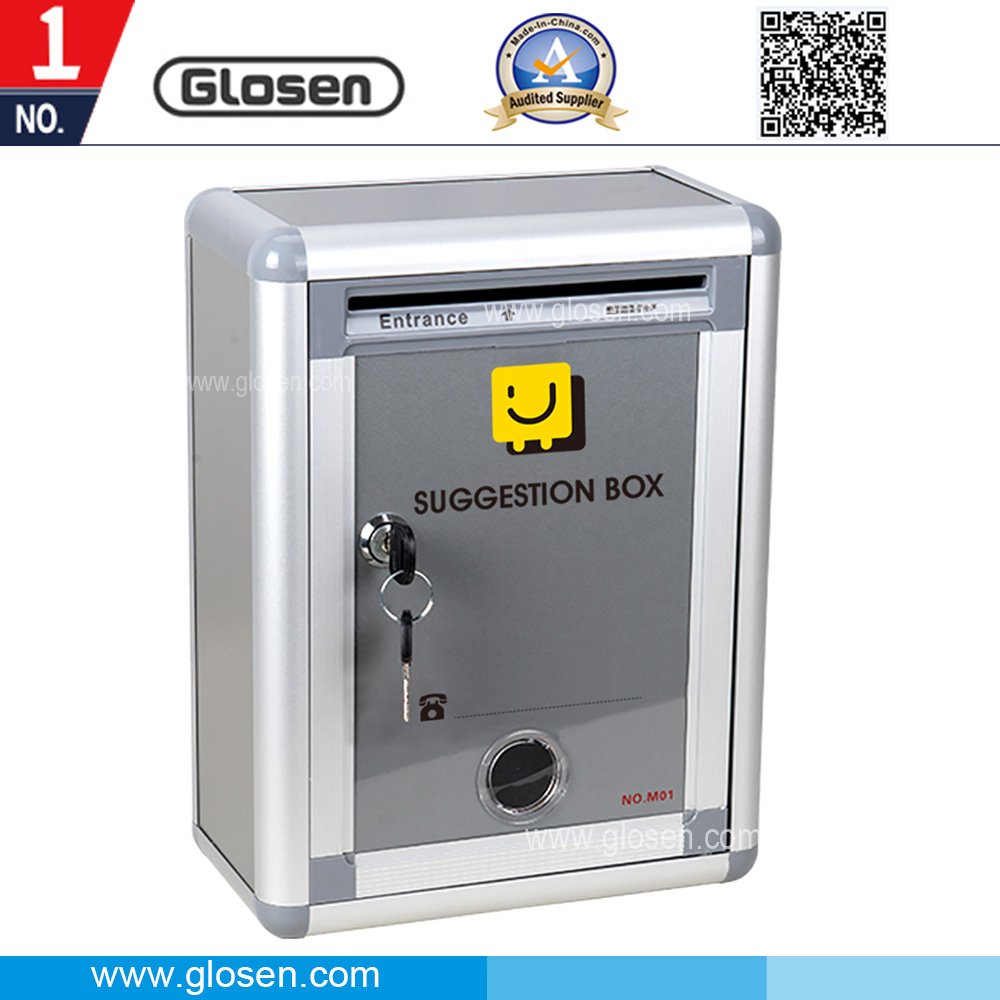 Glosen Cheapest Small Size Metal Suggestion Box with Safety Key Lock M01