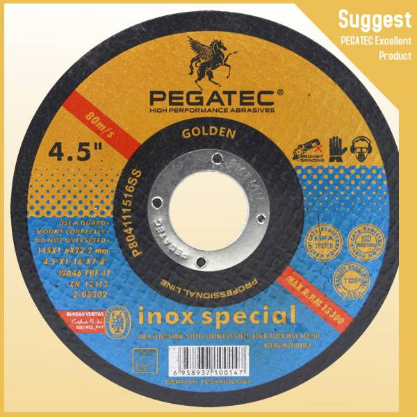 Pegatec resin bond reinforced abrasives cutting disc 4.5'' 115x1.6x22mm inox special