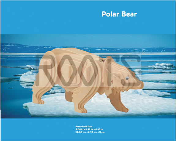 Polar Bear-3D wooden puzzles, wooden construction kit,3d wooden models, 3d puzzle