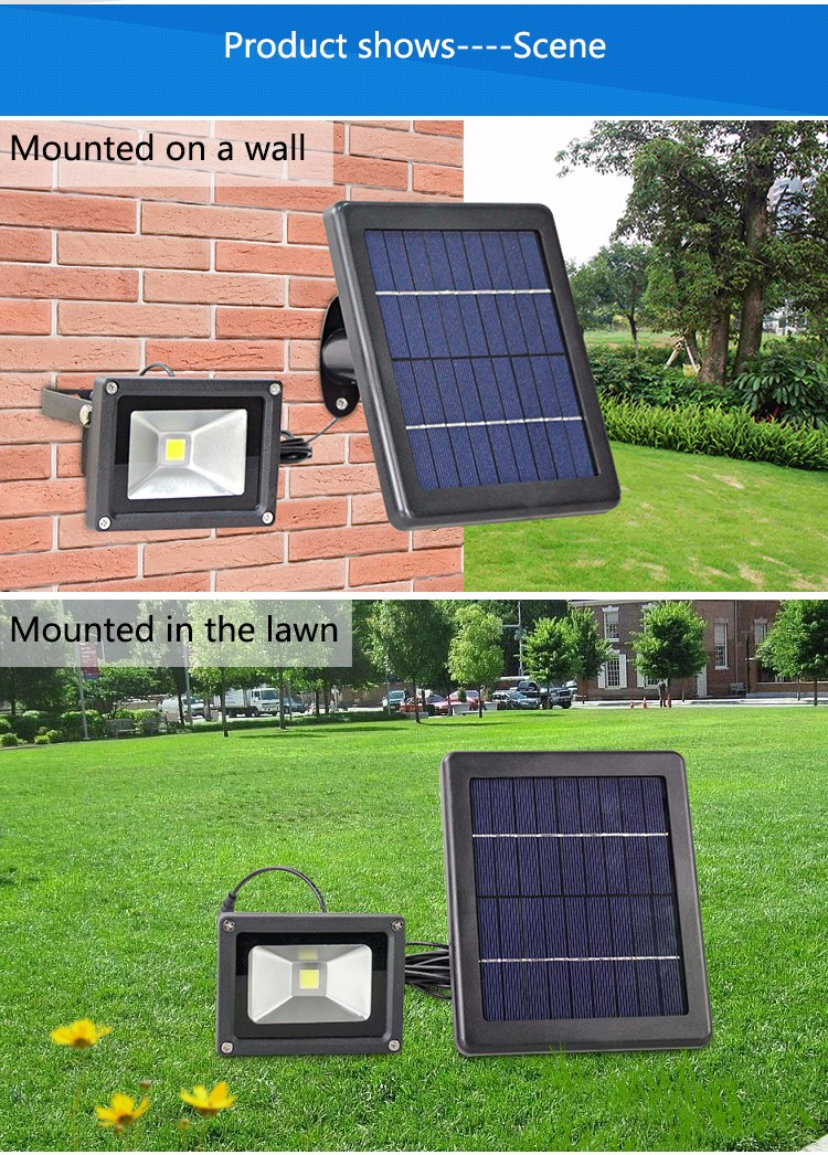 Dongguan factory solar garden lights LED spotlight flood light with light sensor