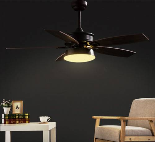 American rustic style ceiling fan with LED light wooden blades hemispherical lampshade