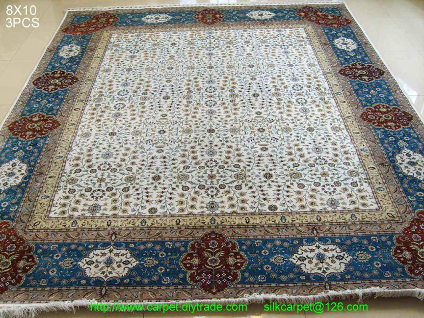 blue bound handmade silk rug luxry silk persian carpet