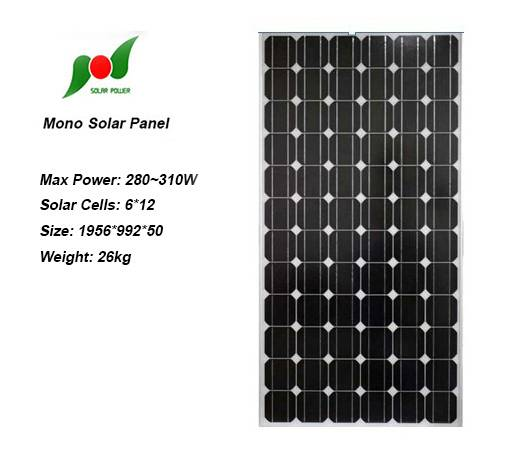 290W 36V High efficiency solar panel for on grid power system
