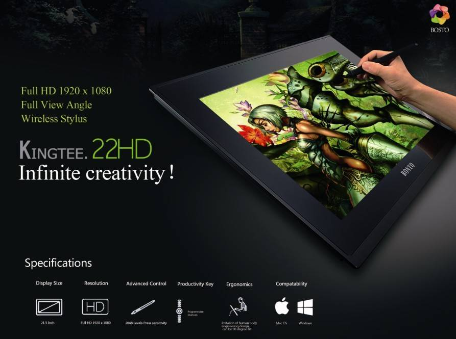 """22""""(Full HD IPS panel Full Angle with battery-free pen/ have eraser fundtion on pen) Interactive Pen"""