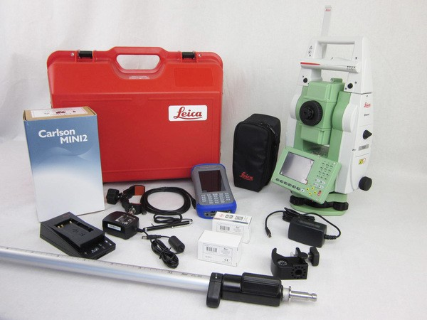"Used Leica TS12P 3"" R400 Robotic Total Station With Carlson Mini2"