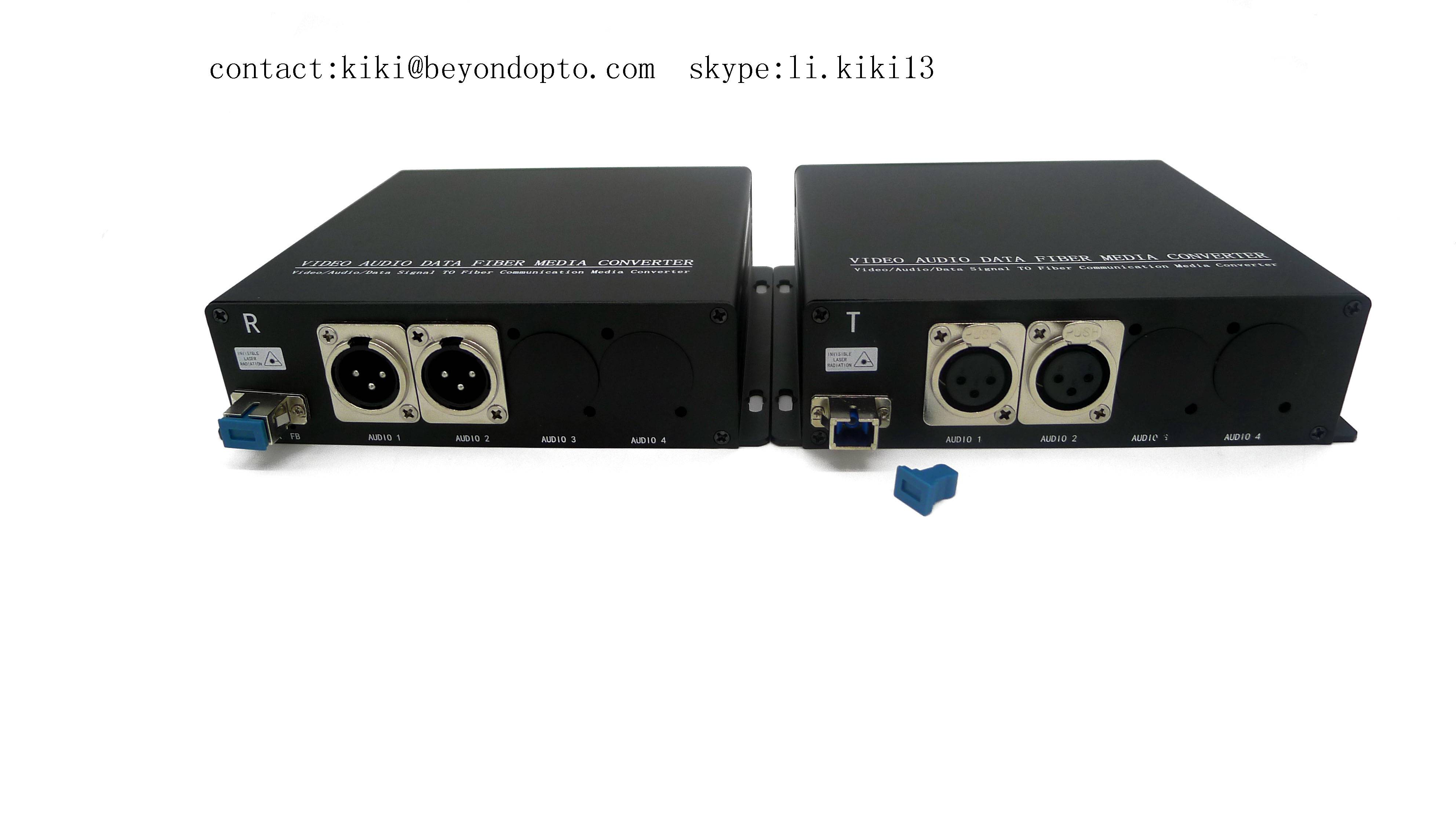 2ch XLR over balanced audio to fiber optic trnasmitter and receiver,FC/SC/ST/LC