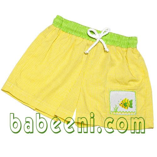 crown fish smocked boy swim trunks