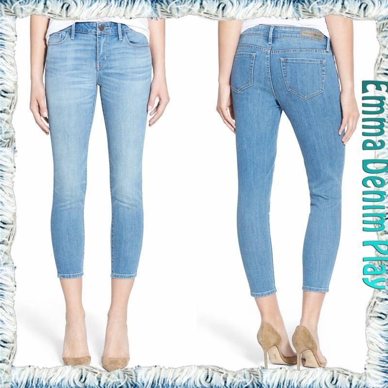 2016 Top High Waisted Classical Design Girls Capri Denim Skinny Stretch Jeans