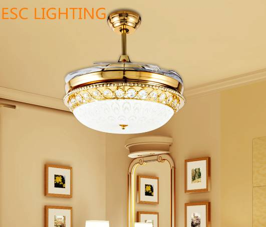 modern design crystal decorative ceiling fan light