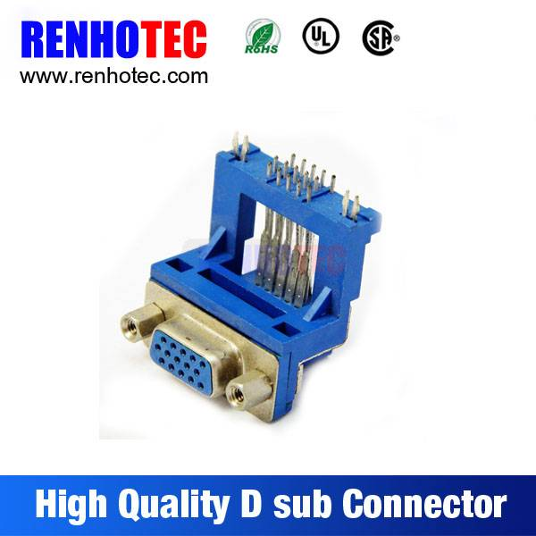 Made in China VGA Blus Housing PCB Mount Right Angle Solder Female 15 Pin D-Sub Connector