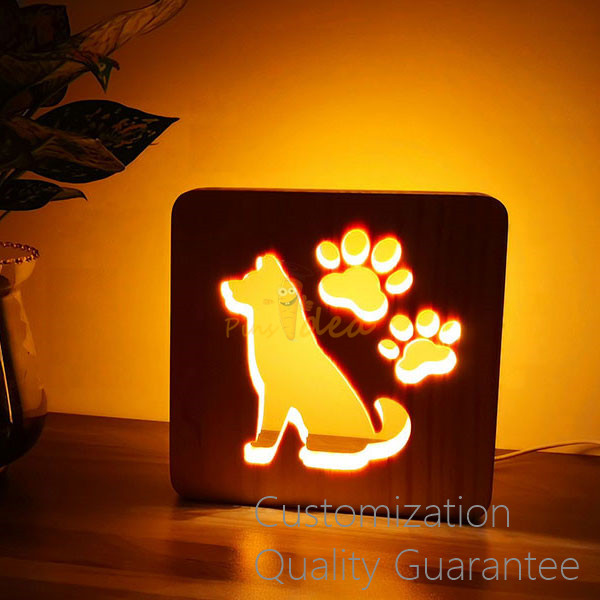 Innovative Pet Memorial Gift Personalized Dog and Paws Wooden LED Light Instead of Candle