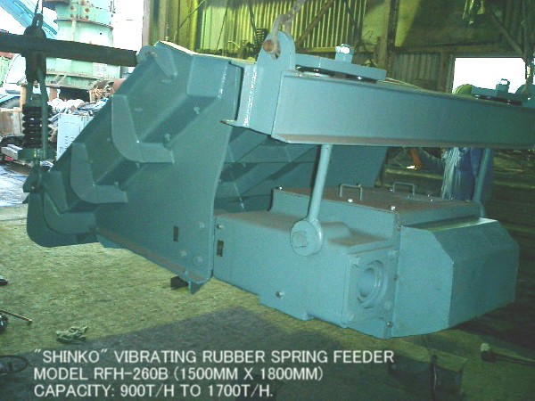 """USED """"SHINKO"""" MODEL RFH-260B VIBRATING RUBBER SPRING FEEDER (1500MM X 1800MM) WITH 5.5KW MOTOR."""