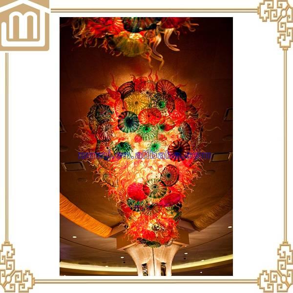 Custom modern hand blown glass plates large hotel loddy chandelier