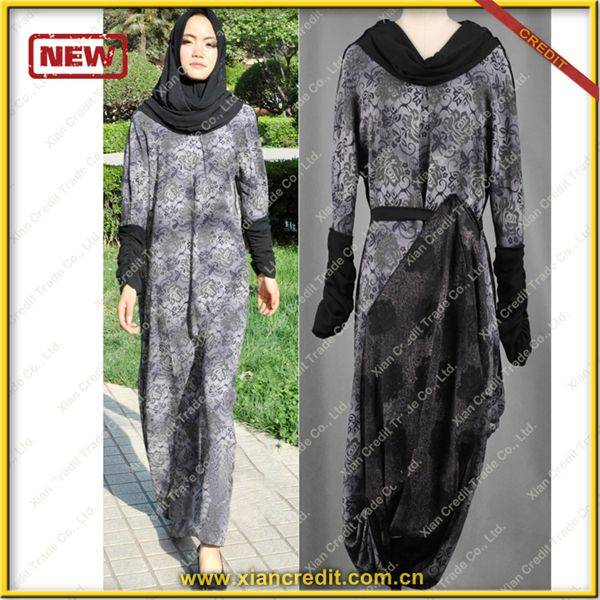 2014 Newest muslim women abaya made of Two face cotton tencel prints  P001-4