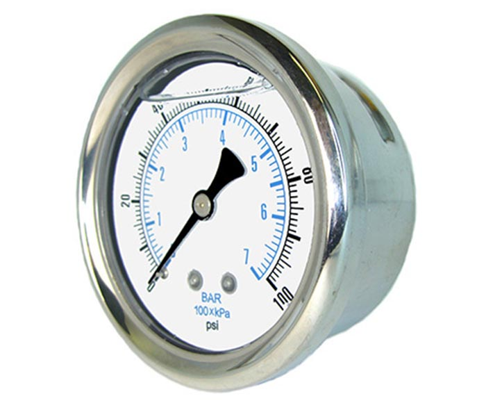 liquid-filled pressure gauge,back connection,brass internal