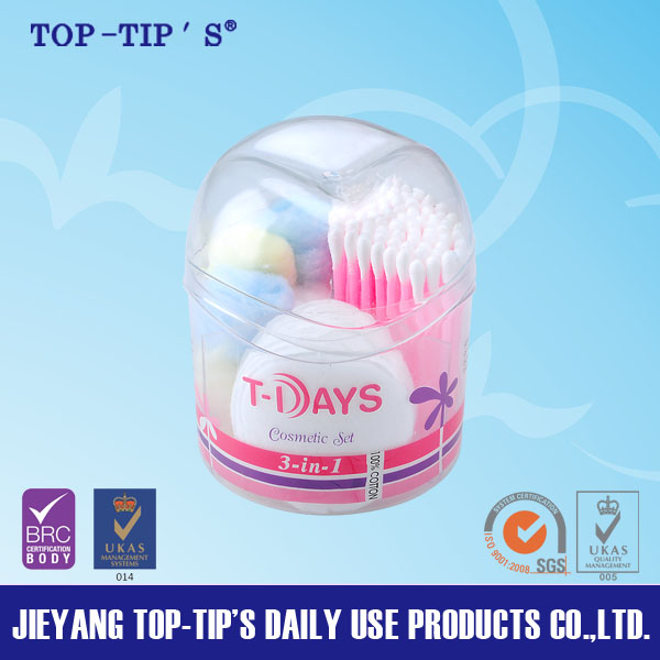 Cosmetic set with cotton buds cotton pads cotton balls