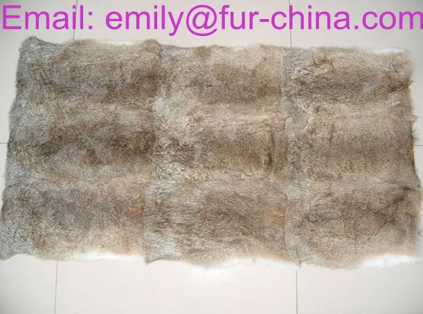 Rabbit Fur Natural Brown Color Real Fur Blanket