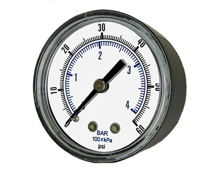 economical pressure gauge-plastic case, back connection