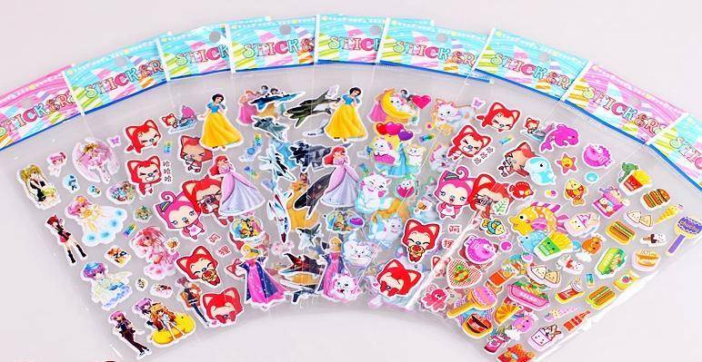 colorful fashionable cartoon foam stickers, 3D puffy stickers,