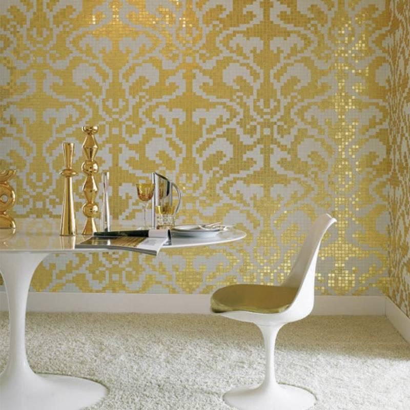 Damasco Oro Giallo Bisazza Mosaic Pattern Waterproof Golden Glass Mosaic Tile