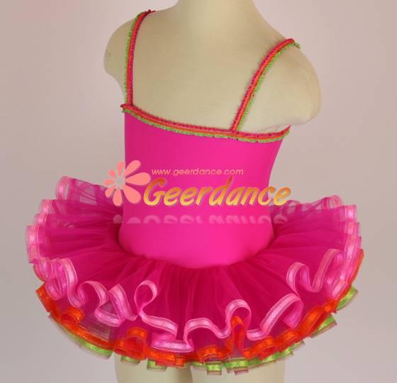 colorful ribbons edged girls leotard dance ballet tutu 15C0017