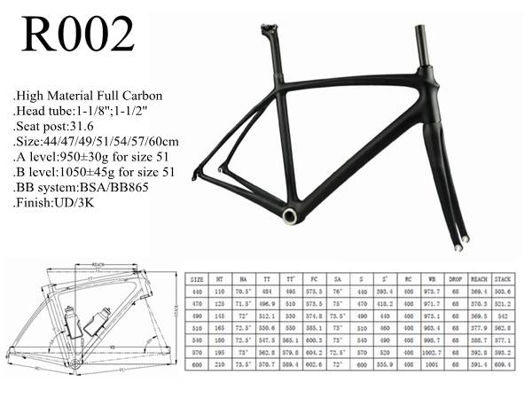 China full carbon road bike frame set / bicycle frame monocoque frame