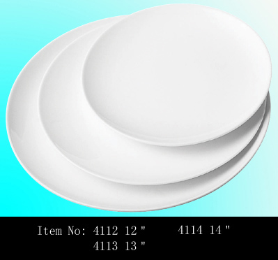 Wholesale cheap white ceramic coupe plate, custom round porcelain dinner plate
