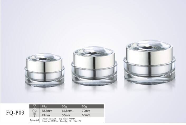 luxury cosmetics jars with diamond cap