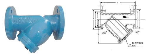 CAST IRON Y-STRAINERS FLANGED END CLASS125
