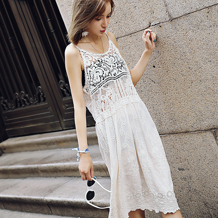 Lace Hollow Sling Dress Hollow Lace Sling Summer Dress Lace Holder Embroidered Dress