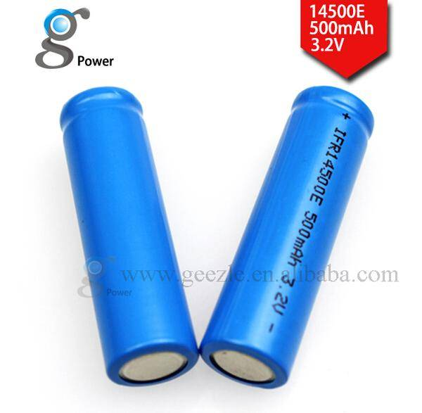 Hot sale and rechargeable Gpower IMR 14500 3.2v 500 mAh lithium ion Battery
