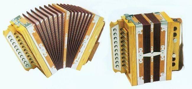Wooden Melodeon 10Button 2Bass