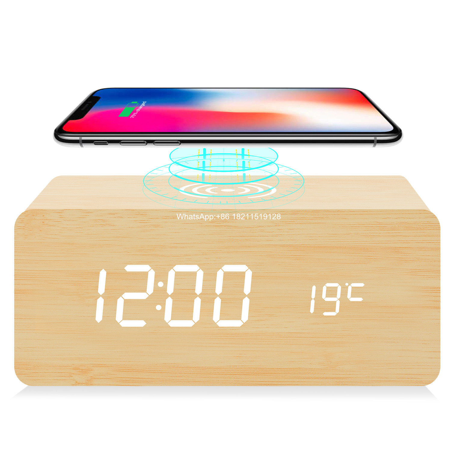 2020 New Desk Wireless Charger Digital Wooden Alarm Clock With Temperature Display