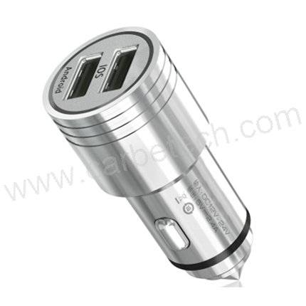 new car charger for cellphone car charger with dual usb port emergence hammer