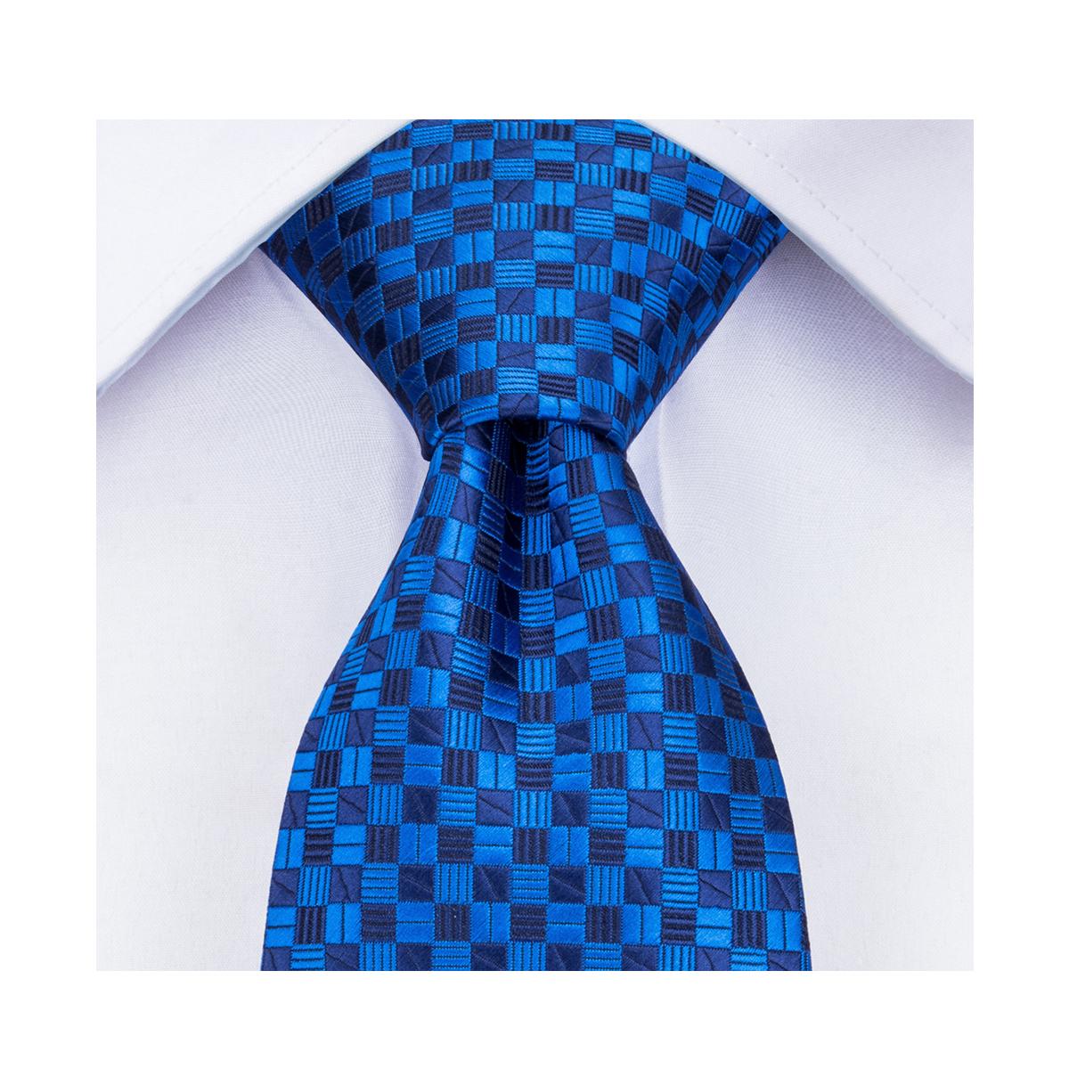 DiBanGu Mens Ties Blue Necktie Clothing Accessories 3.4'' Silk Ties For Men Fashion Tie Handkerchief