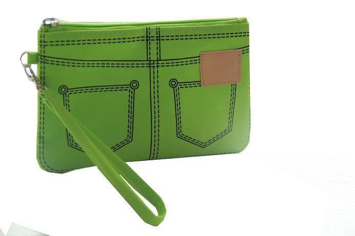 popular green jeans design handbag,make up cosmetic bag