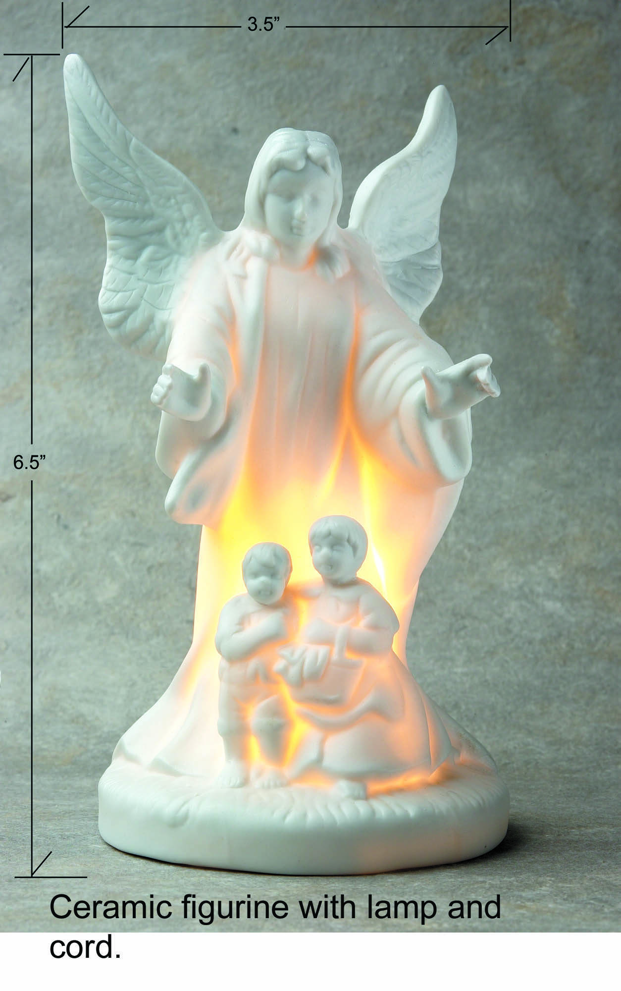 Porcelain Religious angel figurine with Light
