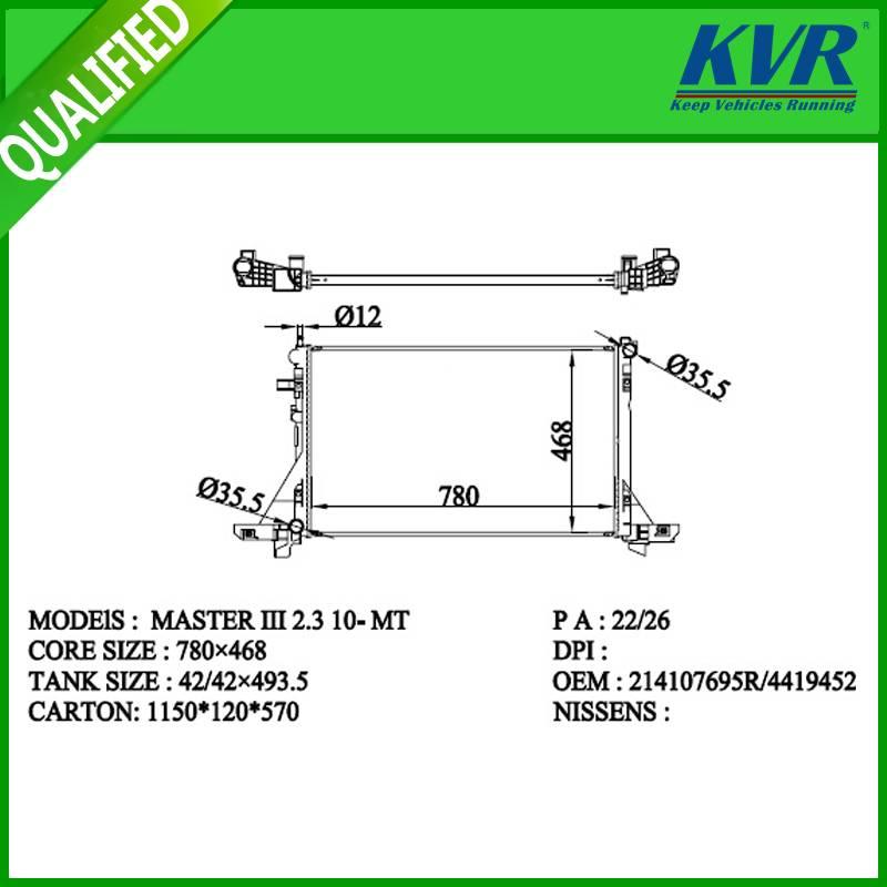 RENAULT radiator for   MASTER III  2.3 10-