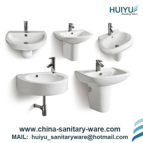 Bathroom Ceramic Wash Basin for wall hung install