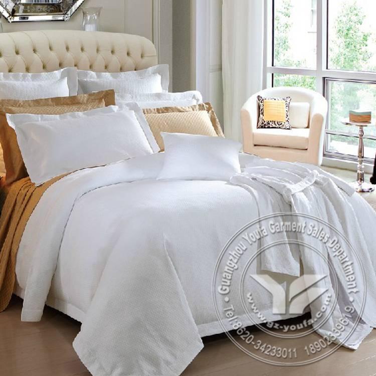 Deluxe design 400TC satin plain 5star hotel white bed linen set